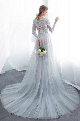 NAOMI | Sheath Long Sleeves Sheer Neckline Appliqued Flowers Evening Dresses_3