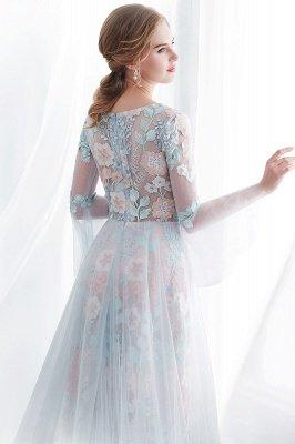 NAOMI | Sheath Long Sleeves Sheer Neckline Appliqued Flowers Evening Dresses_8