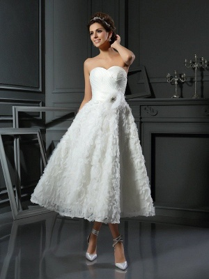 A-Line Sweetheart Sleeveless Short Satin Wedding Dresses with Bowknot