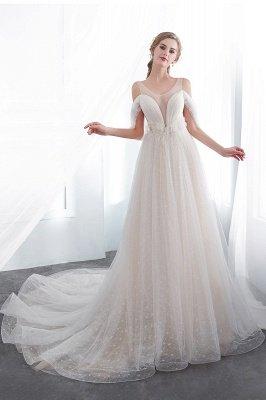 Elegant A-Line Sleeveless Floor Length Ivory Wedding Dresses Cheap_5