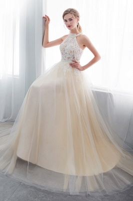 NATALIA | A-line Halter Floor Length Appliqued Tulle Evening Dresses
