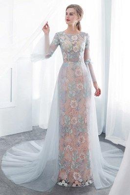 NAOMI | Sheath Long Sleeves Sheer Neckline Appliqued Flowers Evening Dresses_6