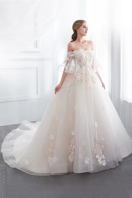 Sexy Off The Shoulder Floor Length Lace Appliques Tulle Ball Gown Wedding Dresses_5
