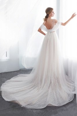 Elegant A-Line Sleeveless Floor Length Ivory Wedding Dresses Cheap_8