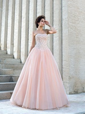 Strapless Ball Gown Long Tulle Beading Sleeveless Wedding Dresses