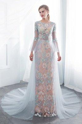 NAOMI | Sheath Long Sleeves Sheer Neckline Appliqued Flowers Evening Dresses_7