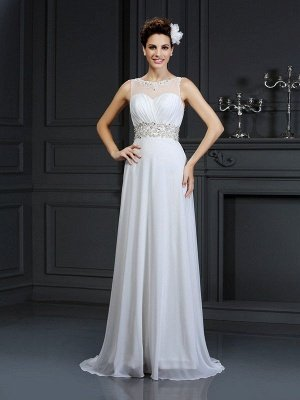Sleeveless A-Line Bateau Ruffles Long Chiffon Wedding Dresses