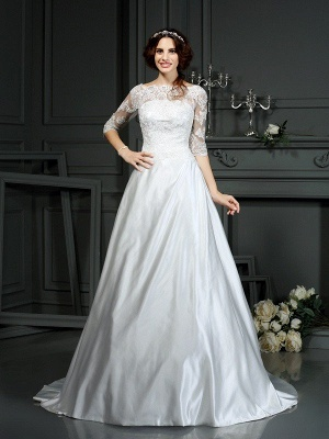 A-Line Bateau Lace Half Sleeves Long Satin Wedding Dresses