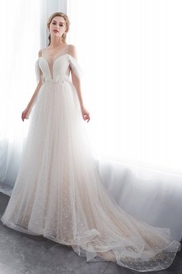 Elegant A-Line Sleeveless Floor Length Ivory Wedding Dresses Cheap_4