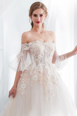 Sexy Off The Shoulder Floor Length Lace Appliques Tulle Ball Gown Wedding Dresses_7