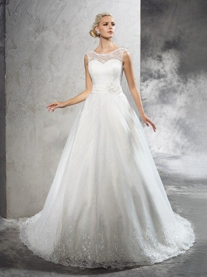 Sheer Neckline Sleeveless Ball Gown Long Tulle Wedding Dresses with Sash