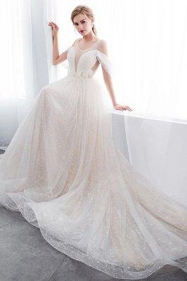 Elegant A-Line Sleeveless Floor Length Ivory Wedding Dresses Cheap_10