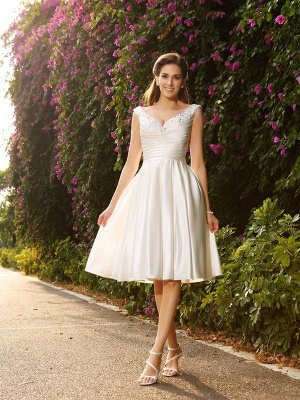 Short V-neck A-Line Beading Sleeveless Satin Wedding Dresses