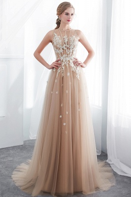 NANNIE | Aline Floor Length Sleeveless Appliqued Tulle Evening Dresses