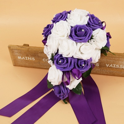 Colorful Silk Rose Wedding Bouquet with Ribbons_6