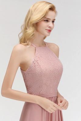 MARIANNA | A-line Sleeveless Halter Long Lace Chiffon Bridesmaid Dresses_9