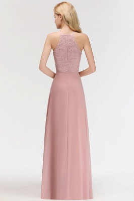 MARIANNA | A-line Sleeveless Halter Long Lace Chiffon Bridesmaid Dresses_10