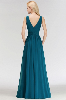 NORA | A-line V-neck Sleeveless Floor Length Ruffles Chiffon Bridesmaid Dresses_3