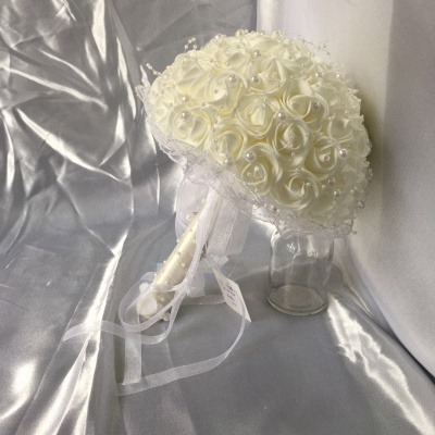 Silk Ivory Rose Wedding Bouquet with Lace ribbons_7