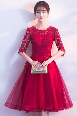 MARGARET | A-line Half sleeves Short Burgundy Appliques Tulle Homecoming Dresses_5