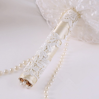 Elegant Pearls Lace Silk Rose Bouquet for Wedding_4