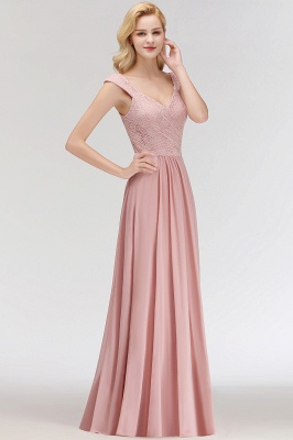 MARIA   A-line Long V-neck Sleeveless Lace Top Chiffon Bridesmaid Dresses_7