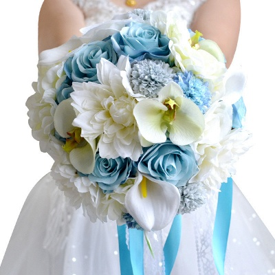 Artificial Camomile and Lily Wedding Bouquet in Blue and White_1