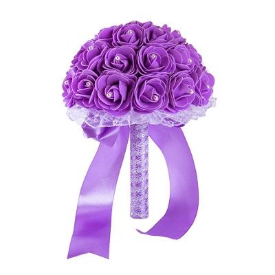 Colorido Rose rebordear Bouquet para la boda_10