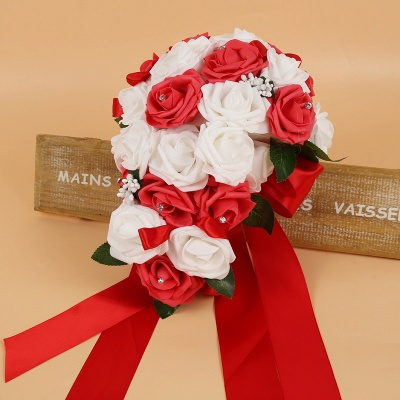 Colorful Silk Rose Wedding Bouquet with Ribbons_3