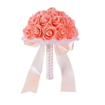 Colorido Rose rebordear Bouquet para la boda_4