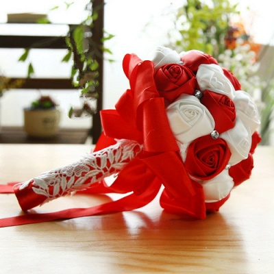 Two Colors Silky Rose Bouquet for wedding_4