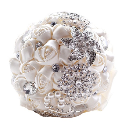 Colorful Silk Rose Crystal Beading Wedding Bouquet_9