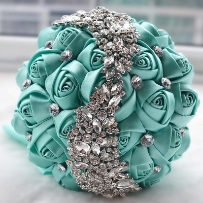 Slik Rose Beading Wedding Bouquet in Multiple Colors_7