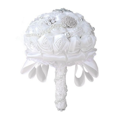 Elegant White Silk Rose Bouquet with Crystal Beading_5