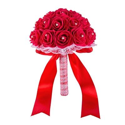Colorido Rose rebordear Bouquet para la boda_5