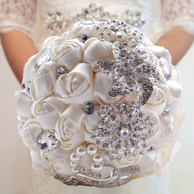 Colorful Silk Rose Crystal Beading Wedding Bouquet_8