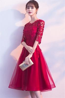 MARGARET | A-line Half sleeves Short Burgundy Appliques Tulle Homecoming Dresses_7