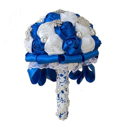 Elegant White Silk Rose Bouquet with Crystal Beading_3