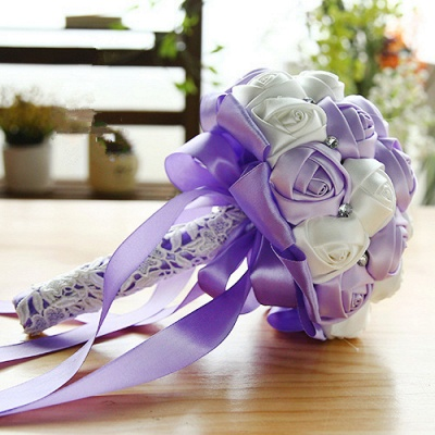 Two Colors Silky Rose Bouquet for wedding_7