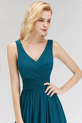 NORA | A-line V-neck Sleeveless Floor Length Ruffles Chiffon Bridesmaid Dresses_5