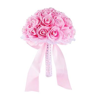 Colorido Rose rebordear Bouquet para la boda_3