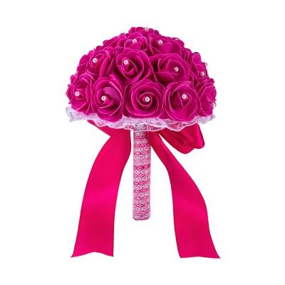 Colorido Rose rebordear Bouquet para la boda_6