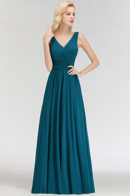 NORA | A-line V-neck Sleeveless Floor Length Ruffles Chiffon Bridesmaid Dresses_6