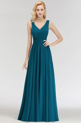 NORA | A-line V-neck Sleeveless Floor Length Ruffles Chiffon Bridesmaid Dresses_1