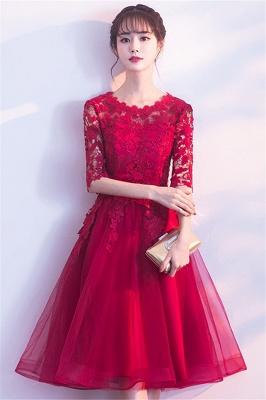 MARGARET | A-line Half sleeves Short Burgundy Appliques Tulle Homecoming Dresses_4