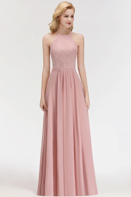 MARIANNA | A-line Sleeveless Halter Long Lace Chiffon Bridesmaid Dresses_7