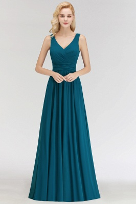NORA | A-line V-neck Sleeveless Floor Length Ruffles Chiffon Bridesmaid Dresses_4