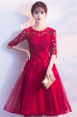 MARGARET | A-line Half sleeves Short Burgundy Appliques Tulle Homecoming Dresses_8