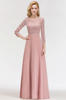 MARIAN | A-line Floor Length Lace Chiffon Bridesmaid Dresses with Sleeves_6