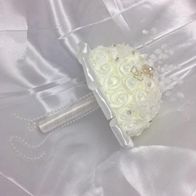 Ivory Silk Rose Bouquet for Wedding with Crystals_4